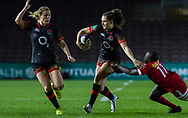 Ellie Kildunne makes a break with Danielle Waterman in support, England Women v Canada in an Autumn International match at The Stoop, Twickenham, London, England, on 21st November 2017 Final score 49-12