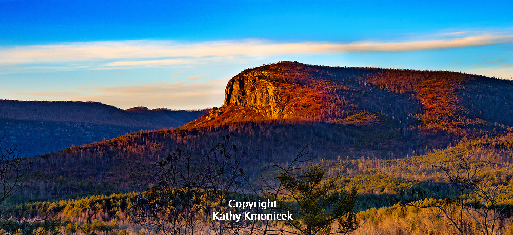 The sun sets on Shortoff Mountain in the Pisgah National Forest, Monday, Jan. 15, 2018 in Nebo, North Carolina<br />