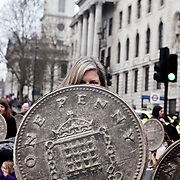 March 26 was the day of the March for the Alternative, an anti-cut demonstration organised by the TUC, which drew 3-500.000 people from all over Britain. Some carried shields made of giant one penny pieces as symbolic protecting.