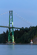 The Lions Gate Bridge and Stanley Park's Prospect Point in Vancouver, British Columbia, Canada