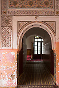 MARRAKESH, MOROCCO - 19TH APRIL 2016 - Arched doorway to the Zaouia / zawiya burial tomb shrine site of Sidi Ben Slimane - Shaykh Muhammad ibn Sulayman al-Jazuli, Marrakesh, Morocco. <br />