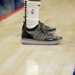 Dec 5, 2018; New Orleans, LA, USA; Shoes worn by New Orleans Pelicans guard Jrue Holiday against the Dallas Mavericks during the third quarter at the Smoothie King Center. Mandatory Credit: Derick E. Hingle-USA TODAY Sports