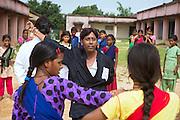 Tabasum Khatun, 14, (right) and her best friend Anju Kumari, 13, are observing a Karate counter-attack move during a class in Algunda village, pop. 1000, Giridih District, rural Jharkhand, India.