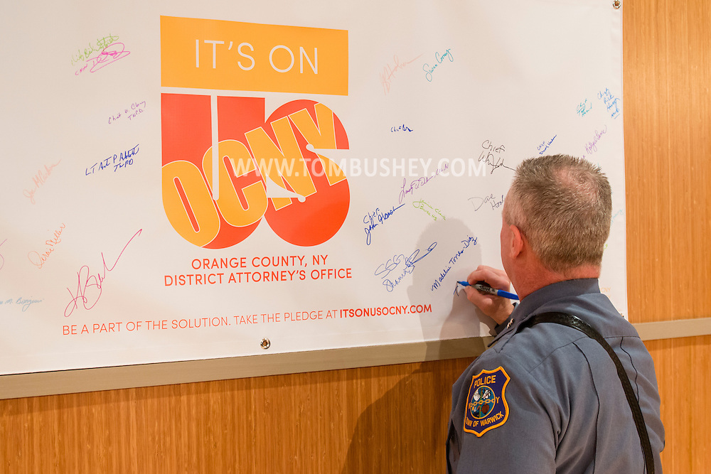 """Goshen, New York - Orange  County  District  Attorney  David  M.  Hoovler announced  the  beginning  of the """"It's On Us Orange County, N.Y."""" initiative,  a countywide effort designed to inspire everyone to see it as their responsibility to do something, big or small, to prevent sexual assault. Hoovler was joined by representatives from the national It's On Us campaign, SUNY Orange, Mount Saint Mary College, and the United States Military Academy, as well as state, county, local, and school district officials, and other community representatives."""