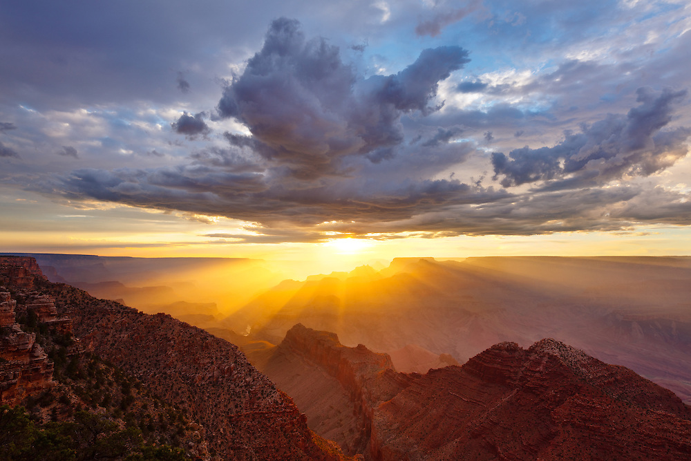 Sunset on the Grand Canyon, viewed from Navajo Point on the East Rim drive near Desert View.