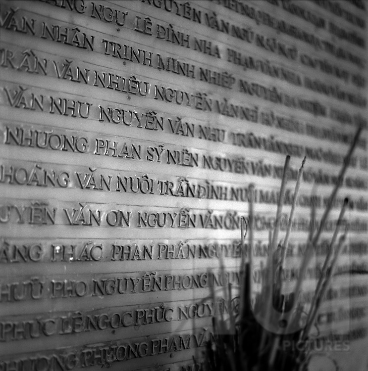 Wall commemorating dead vietnamese soldiers in Dien Bien Phu
