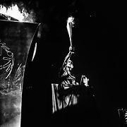 Allumage de la flamme, pendant la cérémonie d'ouverture des Jeux Nationaux Special Olympics 2017 d'Italie, pour handicappés mentaux, à Biella