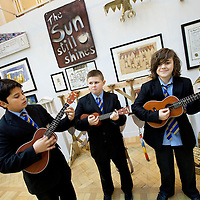 Picture shows: Aaroan Pathak, Conor Fletcher, Harry Daniels of John Paul Academy, Glasgow playing 'THe Paper Boat Song'...GEORGE WYLLIE RETROSPECTIVE: .IN PURSUIT OF THE QUESTION MARK..ARTIST'S LIFE LESS ORDINARY ON SHOW..THE life and work of George Wyllie, MBE, who died in May this year at the age of 90, is the subject of In Pursuit of the Question Mark, which is being curated by his elder daughter, Louise Wyllie. ..The exhibition is the most comprehensive survey of the internationally renowned Glasgow-born artist's work ever mounted and consists of almost 1000 objects. These range from his earliest drawings made for family when he was serving on HMS Argonaut in The Pacific during the Second World War, to his Cosmic Bunnet, made for his last ever solo exhibition in 2005...Wyllie described himself as a 'scul?tor' because, he said, the question mark should always be at the centre. His ambition as an artist, writer and philosopher was to bring art to the attention of the wider world with an engaging, and often humorous take on his chosen subjects...Some of the artist's earliest sculptural work has also been tracked down. This includes a Bumper Dolphin, made from old car bumpers, dating to the 1960s, and a peacock made from washers and scrap metal. ..The exhibition also features material which shows the process which led Wyllie to create iconic ephemeral works such as the Straw Locomotive and the Paper Boat...The Whysman Festival received funding from First in a Lifetime/Year of Creative Scotland 2012 to mount this exhibition and project-manage two community based projects; The Big Little Paper Boat Education Initiative which takes in over 90 Clydeside schools and the Big Clyde Question Project involving community groups in Inverclyde...GEORGE WYLLIE RETROSPECTIVE: IN PURSUIT OF THE QUESTION MARK.The Mitchell, North Street, Glasgow, G3 7DN.www.whysman.co.uk.3 November, 2012 - 2 February, 2013.Open Monday-Saturday, 10am-5pm