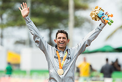 Winner Michael Teuber of Germany celebrates  during Victory ceremony after the Men's Time Trial C1 Cycling Road competition during Day 7 of the Rio 2016 Summer Paralympics Games on September 14, 2016 in Olympic Aquatics Stadium, Rio de Janeiro, Brazil. Photo by Vid Ponikvar / Sportida