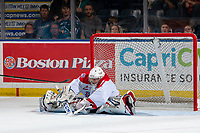 KELOWNA, BC - SEPTEMBER 21:  Campbell Arnold #1 of the Spokane Chiefs makes an overtime save against the Kelowna Rockets at Prospera Place on September 21, 2019 in Kelowna, Canada. (Photo by Marissa Baecker/Shoot the Breeze)