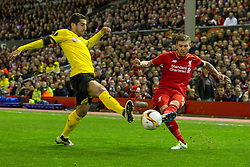 14.04.2016, Anfield Road, Liverpool, ENG, UEFA EL, FC Liverpool vs Borussia Dortmund, Viertelfinale, Rueckspiel, im Bild Henrikh &quot;Micki&quot; Mkhihtaryan (Borussia Dortmund #10) im Zweikampf gegen Alberto Moreno (FC Liverpool #18) // during the UEFA Europa League Quaterfinal, 2nd Leg match between FC Liverpool vs Borussia Dortmund at the Anfield Road in Liverpool, Great Britain on 2016/04/14. EXPA Pictures &copy; 2016, PhotoCredit: EXPA/ Eibner-Pressefoto/ Schueler<br /> <br /> *****ATTENTION - OUT of GER*****