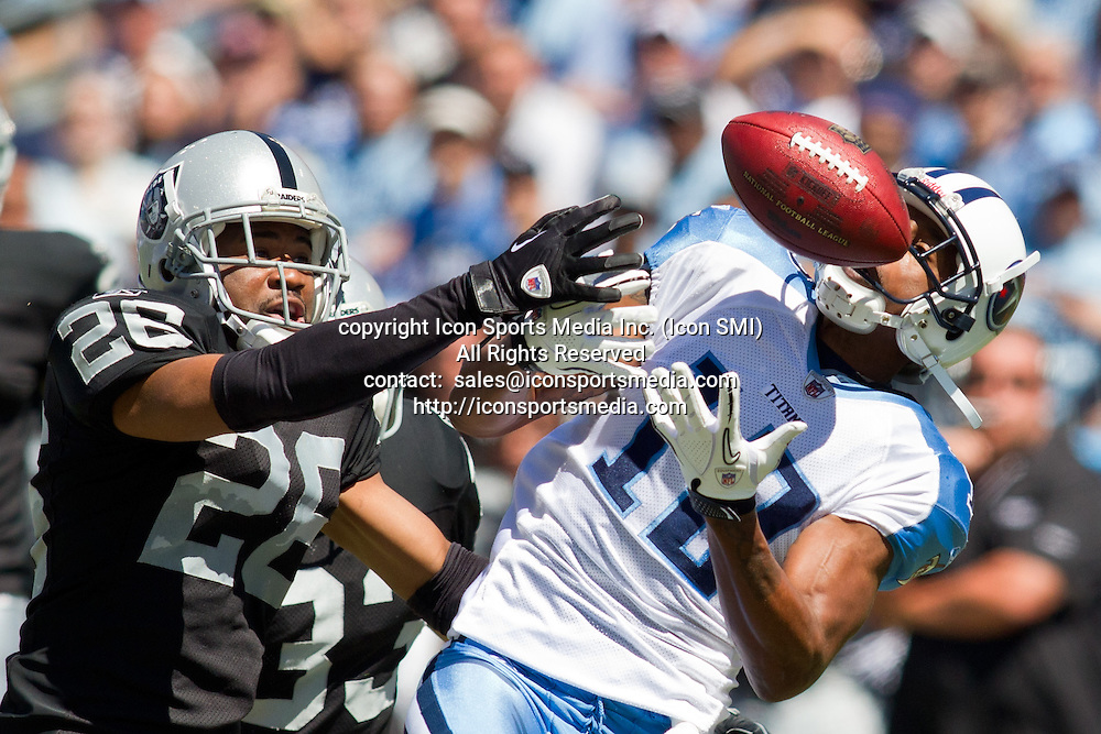 12 September 2010:  Raiders at Titans - Titans Receiver Kenny Britt has a pass broken up by CB Stanford Routt  - The Tennessee Titans beat the Raiders 38-13 to open up the regular season on LP Field in Nashville, Tennessee.