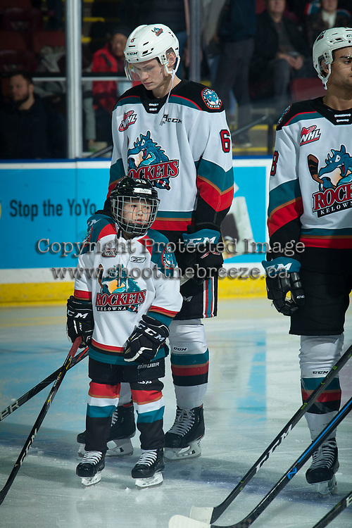 KELOWNA, BC - DECEMBER 27: Pepsi player Zander Mondeaux lines up with the Kelowna Rockets against the Kamloops Blazers at Prospera Place on December 27, 2019 in Kelowna, Canada. (Photo by Marissa Baecker/Shoot the Breeze)