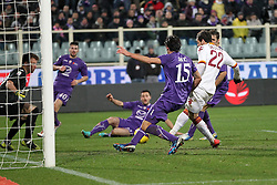 16.01.2012, Stadio Artemio Franchi, Florenz, ITA, TIM Cup, AC Florenz vs AS Rom, Viertelfinale, im Bild Gol di Mattia Destro Roma.Goal // during the Italian TIM Cup quarterfinal match between ACF Fiorentina and AS Roma at the Artemio Franchi Stadium, Florence, Italy on 2013/01/16. EXPA Pictures © 2013, PhotoCredit: EXPA/ Insidefoto/ Paolo Nucci..***** ATTENTION - for AUT, SLO, CRO, SRB, BIH and SWE only *****