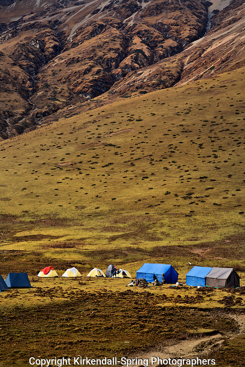 BU00280-00...BHUTAN - Trekkers' campsite in a yak pasture at Thombu Shong on the popular Jhomolhari 2 Trek.