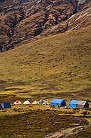 BU00280-00...BHUTAN - Trekkers' campsite in a yak pasture at Thombu Shong on the popular Jhomolhari 2 Trek.
