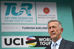 October 14, 2018 - Istanbul, Turkey - Erol Kucukbakirci, the President of the Turkish Cycling Federation awaiting for the Awards Ceremony of the 54th Presidential Cycling Tour of Turkey 2018. .On Sunday, October 14, 2018, in Istanbul, Turkey. (Credit Image: © Artur Widak/NurPhoto via ZUMA Press)