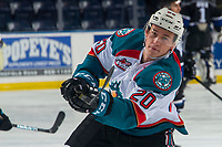 KELOWNA, CANADA - JANUARY 25:  Conner Bruggen-Cate #20 of the Kelowna Rockets warms up with a shot on net against the Victoria Royals on January 25, 2019 at Prospera Place in Kelowna, British Columbia, Canada.  (Photo by Marissa Baecker/Shoot the Breeze)