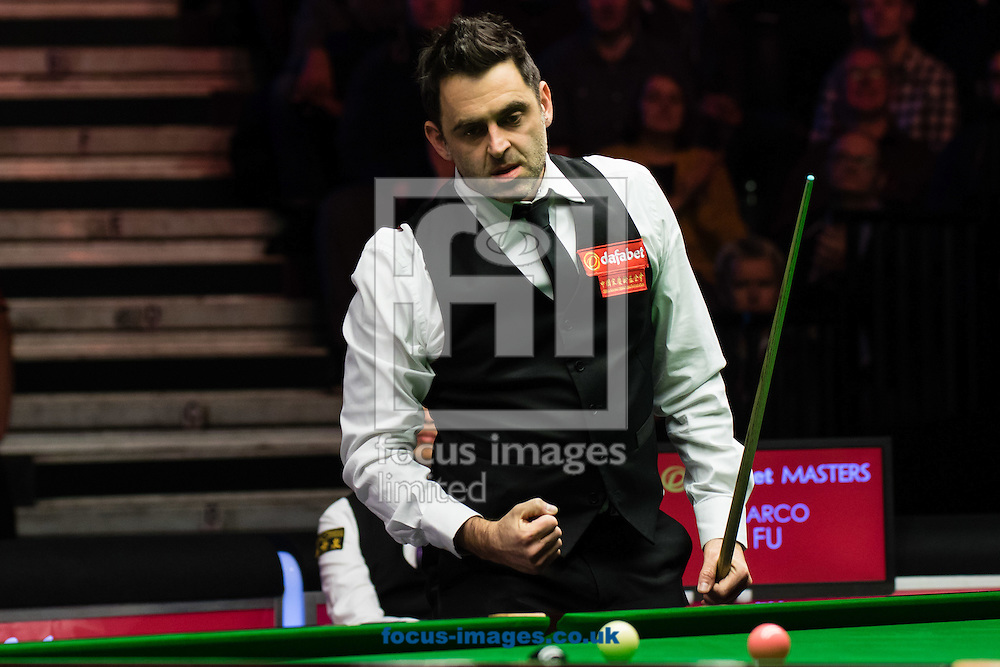 Ronnie O'Sullivan celebrates potting the blue to secure the match against Marco Fu in the final frame of his 6-4 victory during the semi-finals of the Dafabet Snooker Masters 2017 at Alexandra Palace, London<br /> Picture by Mark Chappell/Focus Images Ltd +44 77927 63340<br /> 21/01/2017