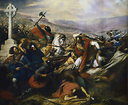 Charles Martel, the Hammer (c688-741), founder of the Carolingian dynasty and grandfather of Charlemagne. Battle of  Poitiers, 732, at which Martel stopped the advance of  Islam from Spain into France. Artist, Charles Steuben.  Gallerie des Batailles, Versailles, France.