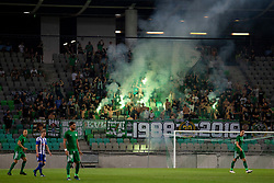 Supporters of NK Olimpija Ljubljana, Green Dragons during 1st Leg football match between NK Olimpija Ljubljana and HJK Helsinki in 3rd Qualifying Round of UEFA Europa League 2018/19, on August 9, 2018 in SRC Stozice, Ljubljana, Slovenia. Photo by Urban Urbanc / Sportida