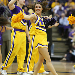14 February 2009: LSU Tigers cheerleaders perform during a 73-66 win by the LSU Tigers against SEC rival the Ole Miss Rebels at the Pete Maravich Assembly Center in Baton Rouge, LA.