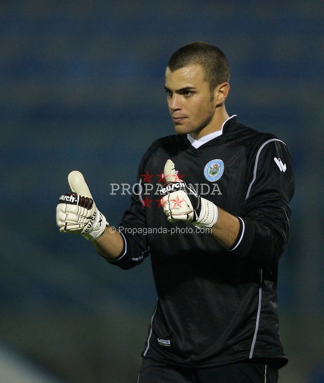 San Marino, San Marino - Wednesday, October 17, 2007: San Marino's goalkeeper Aldo Junior Simoncini during the Group D UEFA Euro 2008 Qualifying match against Wales at the Serravalle Stadium. (Photo by David Rawcliffe/Propaganda)