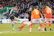Plymouth Argyle's Oscar Threlkeld has a shot at goal during the Sky Bet League 2 match between Plymouth Argyle and Luton Town at Home Park, Plymouth, England on 19 March 2016. Photo by Graham Hunt.