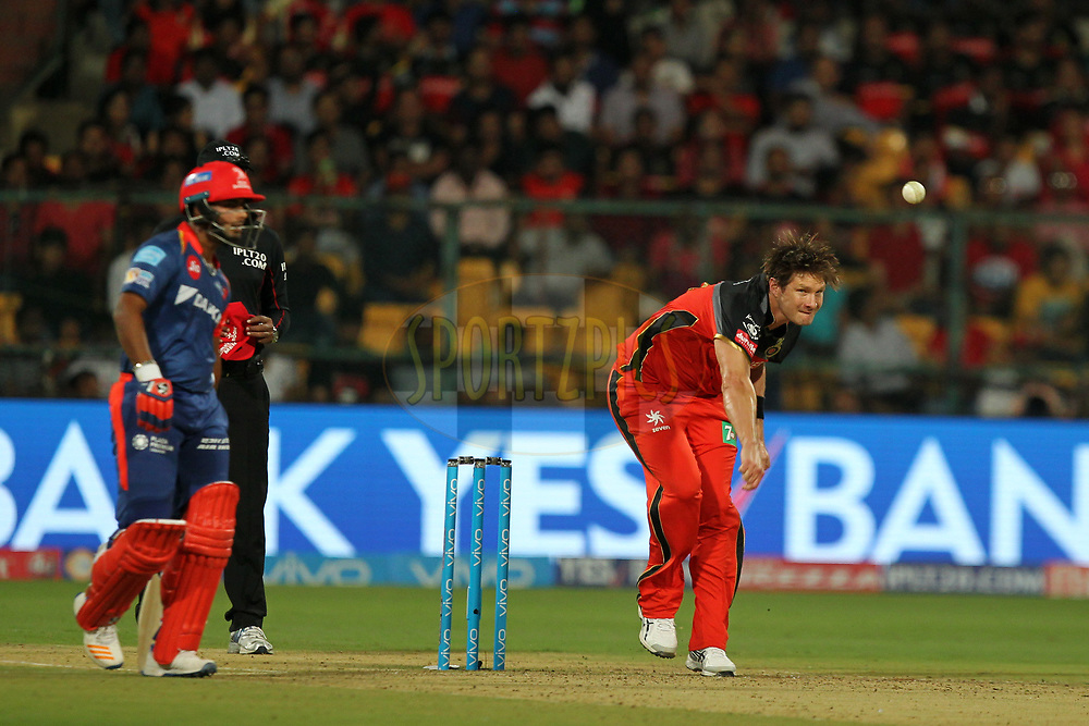 Shane Watson captain of Royal Challengers Bangalore during match 5 of the Vivo 2017 Indian Premier League between the Royal Challengers Bangalore and the Delhi Daredevils held at the M.Chinnaswamy Stadium in Bangalore, India on the 8th April 2017Photo by Prashant Bhoot - IPL - Sportzpics