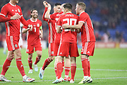 Wales midfielder Daniel James celebrates a goal during the Friendly match between Wales and Belarus at the Cardiff City Stadium, Cardiff, Wales on 9 September 2019.