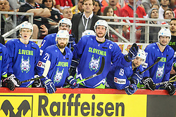 Jan Drozg of Slovenia, Andrej Hebar of Slovenia, Jan Urbas of Slovenia, Ziga Pance of Slovenia, Sabahudin Kovacevic of Slovenia during Ice Hockey match between National Teams of Hungary and Slovenia in Round #3 of 2018 IIHF Ice Hockey World Championship Division I Group A, on April 25, 2018 in Arena Laszla Pappa, Budapest, Hungary. Photo by David Balogh / Sportida