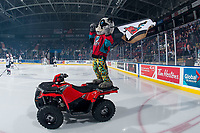 KELOWNA, CANADA - MARCH 16:  Rocky Raccoon, the mascot of the Kelowna Rockets stands on his Polaris quad on the ice against the Vancouver Giants on March 16, 2019 at Prospera Place in Kelowna, British Columbia, Canada.  (Photo by Marissa Baecker/Shoot the Breeze)