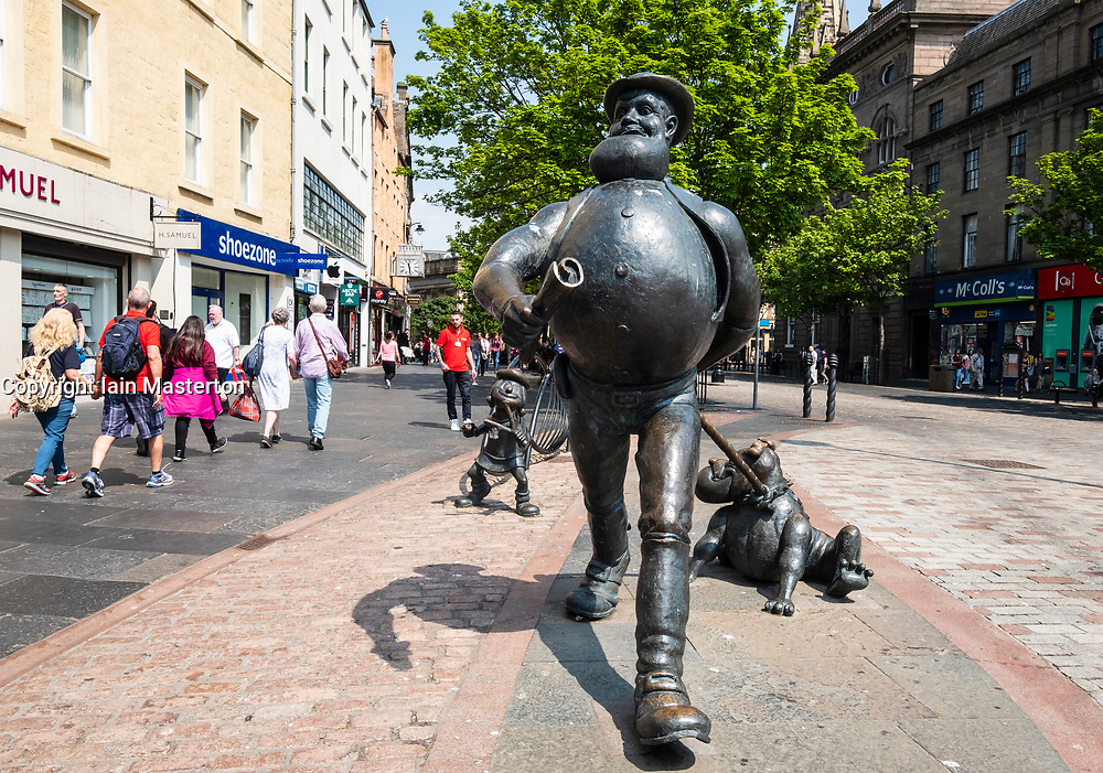 Statue of Desperate Dan on the High Street in central Dundee, Scotland, UK