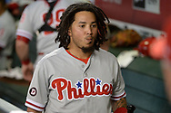 PHOENIX, AZ - JUNE 23:  Freddy Galvis #13 of the Philadelphia Phillies walks through the dugout during the game against the Arizona Diamondbacks at Chase Field on June 23, 2017 in Phoenix, Arizona. The Philadelphia Phillies won 6-1.  (Photo by Jennifer Stewart/Getty Images)