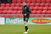 Forest Green Rovers Paul Digby(20) warming up during the EFL Sky Bet League 2 match between Crewe Alexandra and Forest Green Rovers at Alexandra Stadium, Crewe, England on 27 April 2019.
