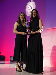Lauren Hemp collects the PFA Young Female Player Of The Year Award during the 2018 PFA Awards at the Grosvenor House Hotel, London.