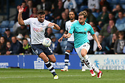 Bury's Eoghan O'Connell and Forest Green Rovers Dayle Grubb(8) during the EFL Sky Bet League 2 match between Bury and Forest Green Rovers at the JD Stadium, Bury, England on 18 August 2018.