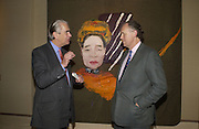 Angus Hay and Guy Sainty. Pintura del Siglo XXI - Julian Schnabel exhibition. ROBILANT + VOENA, Dover St. London. 19  October 2005. ONE TIME USE ONLY - DO NOT ARCHIVE © Copyright Photograph by Dafydd Jones 66 Stockwell Park Rd. London SW9 0DA Tel 020 7733 0108 www.dafjones.com
