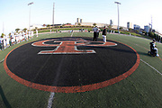 The school logo is painted on the turf at the Erie Cathedral Prep Ramblers 2017 high school football game against the against the Cleveland Benedictine Bengals, Friday, Sept. 15, 2017 in Erie, Pa. The Ramblers won the game 62-28. (©Paul Anthony Spinelli)