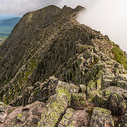 View towards Pamola Peak from the Knife Edge Trail on Mount Katahdin in Maine's Baxter State Park.
