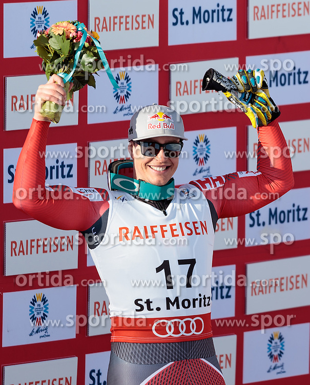12.02.2017, St. Moritz, SUI, FIS Weltmeisterschaften Ski Alpin, St. Moritz 2017, Abfahrt, Herren, Flowerzeremonie, im Bild Erik Guay (CAN, Herren Abfahrt Silbermedaille) // men's Downhill Silver medalist Erik Guay of Canada during the Flowers ceremony of men's Downhill of the FIS Ski World Championships 2017. St. Moritz, Switzerland on 2017/02/12. EXPA Pictures © 2017, PhotoCredit: EXPA/ Johann Groder