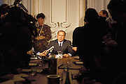 Silvio Berlusconi speaks at a press conference after AMEF (Arnoldo Mondadori Editore Finanziaria) shareholders general meeting in Milan, January 25, 1990. Meeting has apointed Berlusconi as new President of Mondadori spa. &copy; Carlo Cerchioli<br />