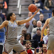 HARTFORD, CONNECTICUT- JANUARY 10: Gabby Williams #15 of the Connecticut Huskies rebounds during the the UConn Huskies Vs USF Bulls, NCAA Women's Basketball game on January 10th, 2017 at the XL Center, Hartford, Connecticut. (Photo by Tim Clayton/Corbis via Getty Images)