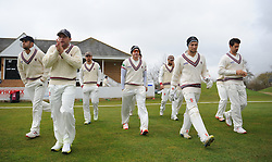 Somerset captain Chris Rogers (middle) leads the team out. - Mandatory by-line: Alex Davidson/JMP - 04/04/2016 - CRICKET - Taunton Vale Cricket Club - Taunton , England - Somerset County Cricket Club v Lancashire County Cricket Club - Pre Season