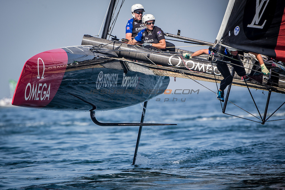 Louis Vuitton America's Cup World Series 2016 Oman.Emirates Team New Zealand,Glenn Ashby,Pete Burling,Ray Davies,Blair Tuke,Guy Endean.Muscat ,The Sultanate of Oman.Image licensed to Jesus Renedo/Lloyd images/Oman Sail