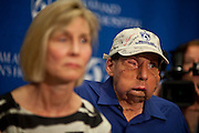 (Boston, MA - May 21, 2009) Brigham and Women's Hospital introduced the patient of the first face transplant, James Maki, right, as well as the wife of donor Joseph Helfgot, Susan Whitman-Helfgot, left, to the media at a press conference held in Boston. Staff Photo Justin Ide/Harvard News Office