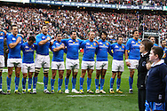The Italian team sing their national anthem before the RBS Six Nations match between England and Italy at Twickenham, London, UK on 12th February 2011 (Photo by Andrew Tobin www.slikimages.com)