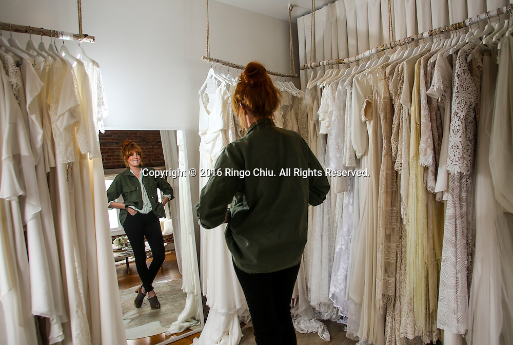 Orla Stiles, founder of wedding dress shop Solstice Bride in Venice.<br /> (Photo by Ringo Chiu/PHOTOFORMULA.com)<br /> <br /> Usage Notes: This content is intended for editorial use only. For other uses, additional clearances may be required.