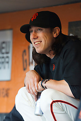 May 24, 2011; San Francisco, CA, USA;  San Francisco Giants starting pitcher Tim Lincecum (55) sits in the dugout before the game against the Florida Marlins at AT&T Park. Florida defeated San Francisco 5-1.