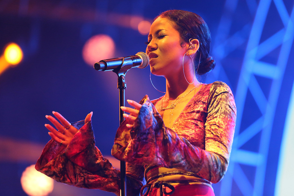 Jhene Aiko performs at the 2017 BET Experience at The Staples Center on Friday June 23, 2017, in Los Angeles. (Photo by Willy Sanjuan/Invision/AP)